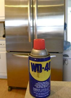 To clean stainless steel appliances - spray WD-40 on a soft, lint-free cloth and wipe over the stainless steel surface. Just a tiny bit will do it.