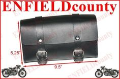 NEW BLACK LEATHER MADE TOOL BAG ROLL BOX WITH FITTING BSA NORTON TRIUMPH ARIEL