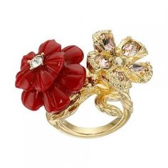 10% off Alexander McQueen - Ring Multi 2 Flowers Gold - $342.99 #alexandermcqueen #mcqueen #ring #flowers