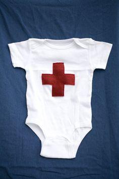Onsie With Red Cross Medic Felt Design   Paging Nurse by Bullabags, $12.00
