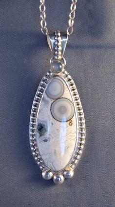 Ocean Jasper, Moonstone and Sterling Silver Pendant