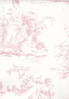 Women Pink Toile Wallpaper