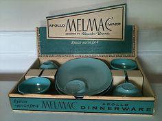 Vintage Melamine Melmac Apollo Ware Snack Tray Cup Plate Set Display Box