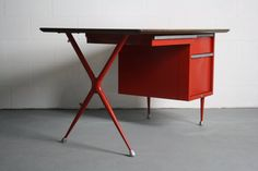 60's Industrial X Desk. Only 1 available @ https://www.etsy.com/listing/214581013/reworked-industrial-mid-century-modern-x #mid #century #modern #desk #office #workspace #loft #abtmodern #industrial #design #interior #mcm