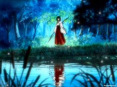Kikyo near a pond at night - screenshot from InuYasha