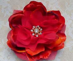 Small Red Peony Hair Flower Clip or Pin. $25.00, via Etsy.