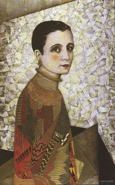Portrait de Mademoiselle Agnès by Jean Dunand (1877–1942), French lacquer, sculptor, dinandier (copper manufacturer) and interior designer. He is considered the greatest lacquer artist of the Art Deco period (les annees elegantes - wiki)