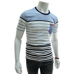 (GTS12-SKY) Slim Fit 2 Tone Stripe Denim Patched Pocket Round Neck Short Sleeve Tshirts