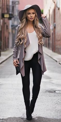 how to style a hat : top + cardigan + skinnies + boots