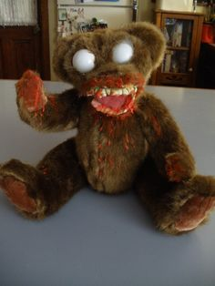 zombie teddy makeover for Halloween by October Pun'kin aka punkineater on Halloween Forum & Haunt Forum