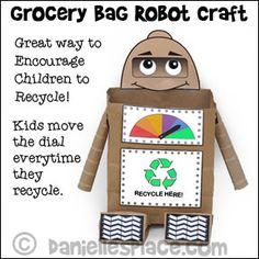 Recycle Grocery Bag Robot Craft - Use this little robot to encourage children to. Bible School Crafts, Sunday School Crafts, Bible Crafts, Recycled Robot, Recycled Crafts, Recycled Materials, Learning Games For Kids, Activities For Kids, Learning Activities
