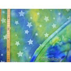 BATIK-Stars ALPENFLEECE - Sterne auf Batik-kiwi-blau,...