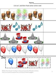 The 4th of July is fast approaching. All children love parades, picnics and celebrations. This packet CELEBRATING AMERICA CUT AND PASTE WORKSHEET SET combines the love of parades and picnics with the fun of cut and paste activities. Students will learn while celebrating the birth of our country.