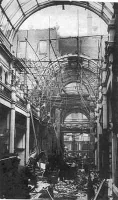The Great Western Arcade Birmingham England after it was bombed in the 2nd world war.