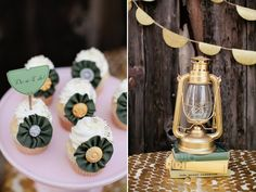Spray painted gold lantern: Girl Scout Inspired Bridal Shower.