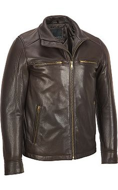 Shell: Genuine leather Lining: fully lining with cotton silk mix  Full-zip front; funnel collar Zippered cuffs Two zippered front pockets; two zippered chest pockets one snap interior pockets Send to professional leather cleaner only