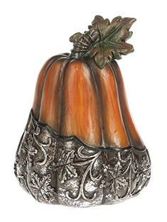 Ganz 5 Polystone Silver Leaves Pumpkin Figurine -- You can get more details by clicking on the image. (This is an affiliate link) #HalloweenCollectibleFigurines