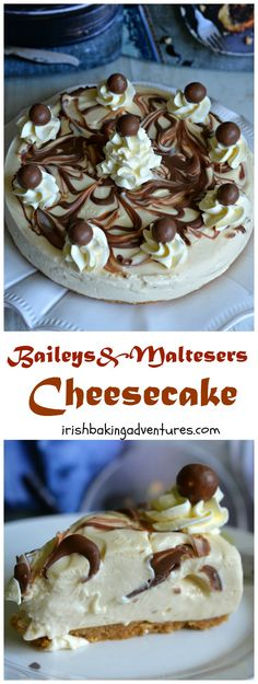 The most DECADENT Baileys & Maltesers Cheesecake. It's completely no-bake rich and delicious! A really dreamy dessert for a special occasion More from my siteBaileys Cheesecake Chocolate BrowniesBaileys Strawberries & Cream Cheesecake ! Maltesers Cheesecake, Cheesecake Mix, Cheesecake Recipes, Dessert Recipes, Baileys Cheesecake, Cupcakes, Delicious Desserts, Yummy Food, Snacks Saludables