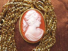 Large cameo pendant very long chain vintage pendant by Taingtiques