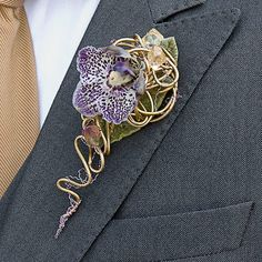 Contemporary style orchid boutonniere by Philippe Bas. Orchid Boutonniere, Boutonnieres, Flower Corsage, Wrist Corsage, Prom Flowers, Wedding Flowers, Button Holes Wedding, Corsage Wedding, Wedding Fair