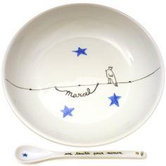 Assiette bébé personnalisée prénom en porcelaine motif Oiseau