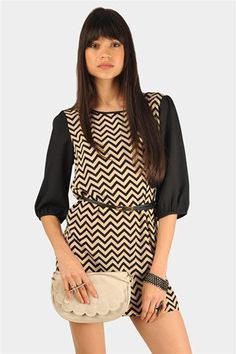 Chevron It Up Dress - Taupe