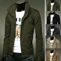 Men's Fashion Korean Collar Coat Slim Washed Jacket via martEnvy. Click on the image to see more!