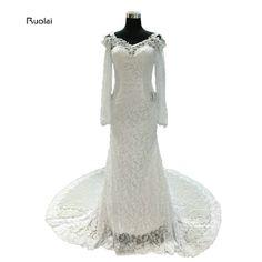 2017 Elegant Lace Mermaid Wedding Dresses Court Train Appliques Pearls Scoop Long Sleeves Open Back Bridal Gown Custom Made
