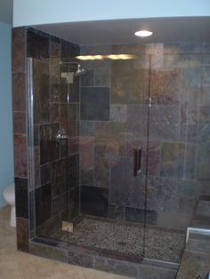 Clean Mordern Gl Shower Doors With Slate Tile I M Thinking Instead Of The Tub In Upstairs Bathroom