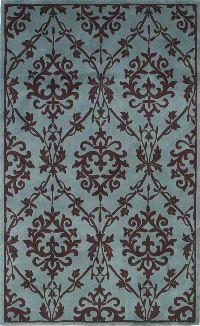 KAS Chateau  3624 Wedgewood and Mocha Sofia area rug