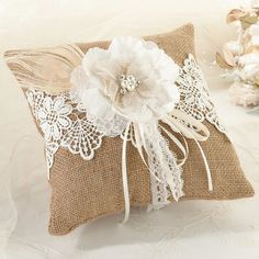 Rustic Wedding Ideas - Burlap and Lace Ring Bearer Pillow