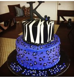 Purple Cheetah Zebra Girl's Teenager Women's Birthday Cake  Bettierockercakes.blogspot.com San Antonio, TX