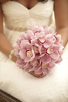 Pretty cymbidium orchid bouquet. Tropical weddings A Destination Wedding in Koh Samui, Thailand