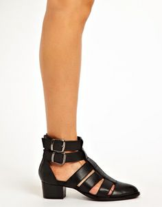 Image 4 ofASOS ANTICIPATE Leather Cut Out Ankle Boots