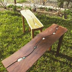 Awesome river rock bench #bench #riverrock #woodwork de midcenturyfurniture