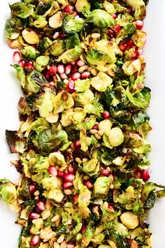 Crispy Brussels Sprout Salad with Pomegranate + Pine  Nuts | vegan, gluten-free