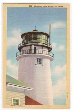 Highland Light Lighthouse Cape Cod Massachusetts linen po... - bidStart (item 30049713 in Postcards... Cape Cod)