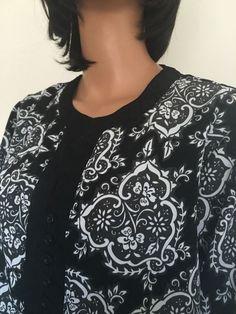 Chelsea Studio Plus Size 1X Women Tunic Designer Fashion Black White Floral Hip #ChelseaStudio #Tunic