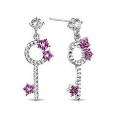 602899587 Pandahall Key with Flower Beautiful Design Platinum Plated Brass Stud  Earrings #earrings #key #