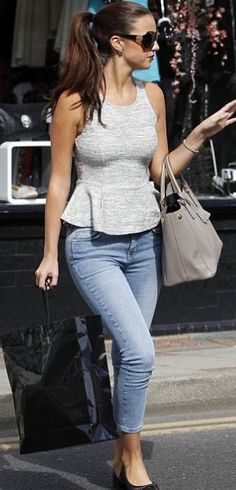 Lucy Mecklenburgh in a Topshop #peplum top for $50. http://rstyle.me/iant35mn8e