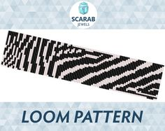 Bead loom pattern featuring animal print: zebra stripes in black and white  Pattern designed for loom, however it can be used for square stitch.