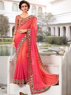 Pink with Peach Color Indian Party Wear Sarees Online
