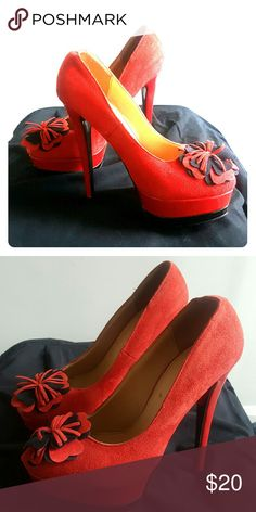 Red velvet heels Beautiful red velvet platform stilettos with black and red flowers on the toe. Worn once Shoes Heels
