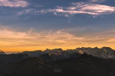 Captured during a hike to Hochobier in southern Austria. I love the rare and short moments when the peaks reflecting the last light of the day. Carinthia, Dusk, Austria, Mountain, In This Moment, Celestial, Sunset, Photography, Outdoor