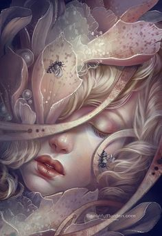 Artist: Jennifer Healy {contemporary #surreal fantasy beautiful blonde-hair female head illustration woman face portrait artwork painting} <3 Ethereal !!