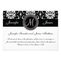 See MoreBlack White Damask Initial Wedding InvitationThis site is will advise you where to buy