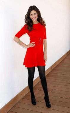 #VictoriaJustice : Red Dress and Black tights. Who says simple can't be chic?! Shop #DMLooks at DivaMall.tv