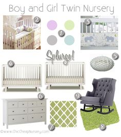 Nursery design board for boy and girl twins. Love the color palette!