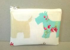 Coin purse in cream with Scottie dog pattern, Oilcloth change purse for ladies, small zipped pouch, dog card wallet by KernowClaire on Etsy