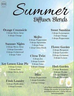 Summer diffuser blends. Perfect for relaxing